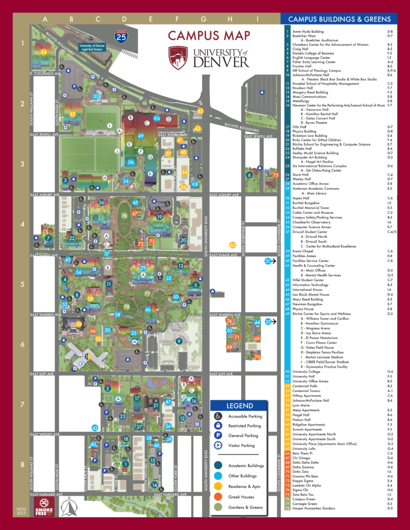 University Of Denver Campus Map Pee with ease: 2019 updated map – DU Clarion