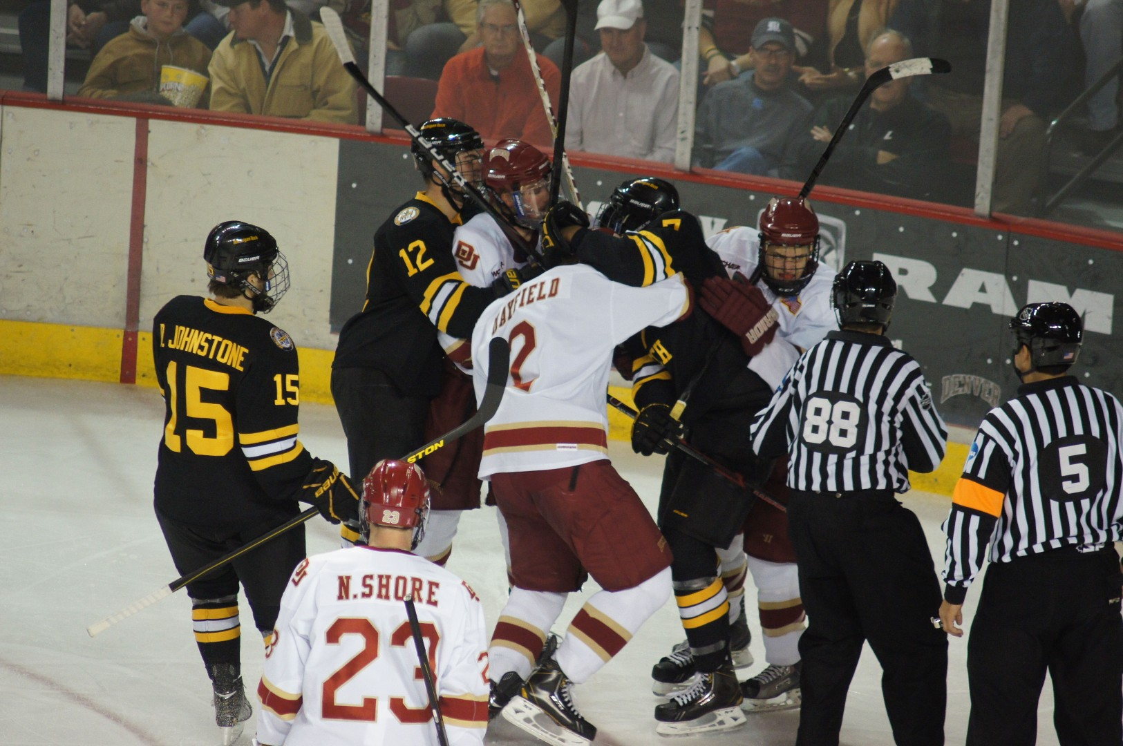 Despite being plagued by a collective 17 penalties and a number of fights in Saturday's game between Denver and Michigan Tech, the Pioneers extended their win streak to four games, the best start since the 2008-2009 season. Photo by Ryan Lumpkin.