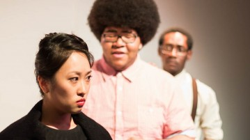 "Lois Shih, Samuel Pierce III and Anthony Adu starred in ""I'm Not Stupid,"" one of the plays in the first cycle of the Senior Capstone Festival this year."