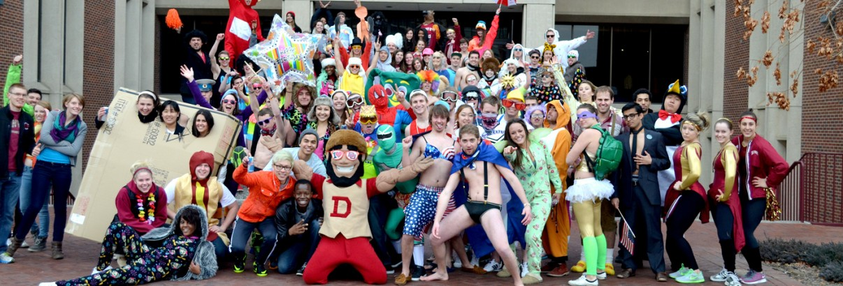 Students gathered on the Driscoll Green on Friday afternoon to take part in the DU version of the popular online sensation, the Harlem Shake. Members of the DU community, including athletes, unofficial mascot Boone and costumed students gathered to partake in the dance. Photo by Kim Nesbitt, DU Clarion.