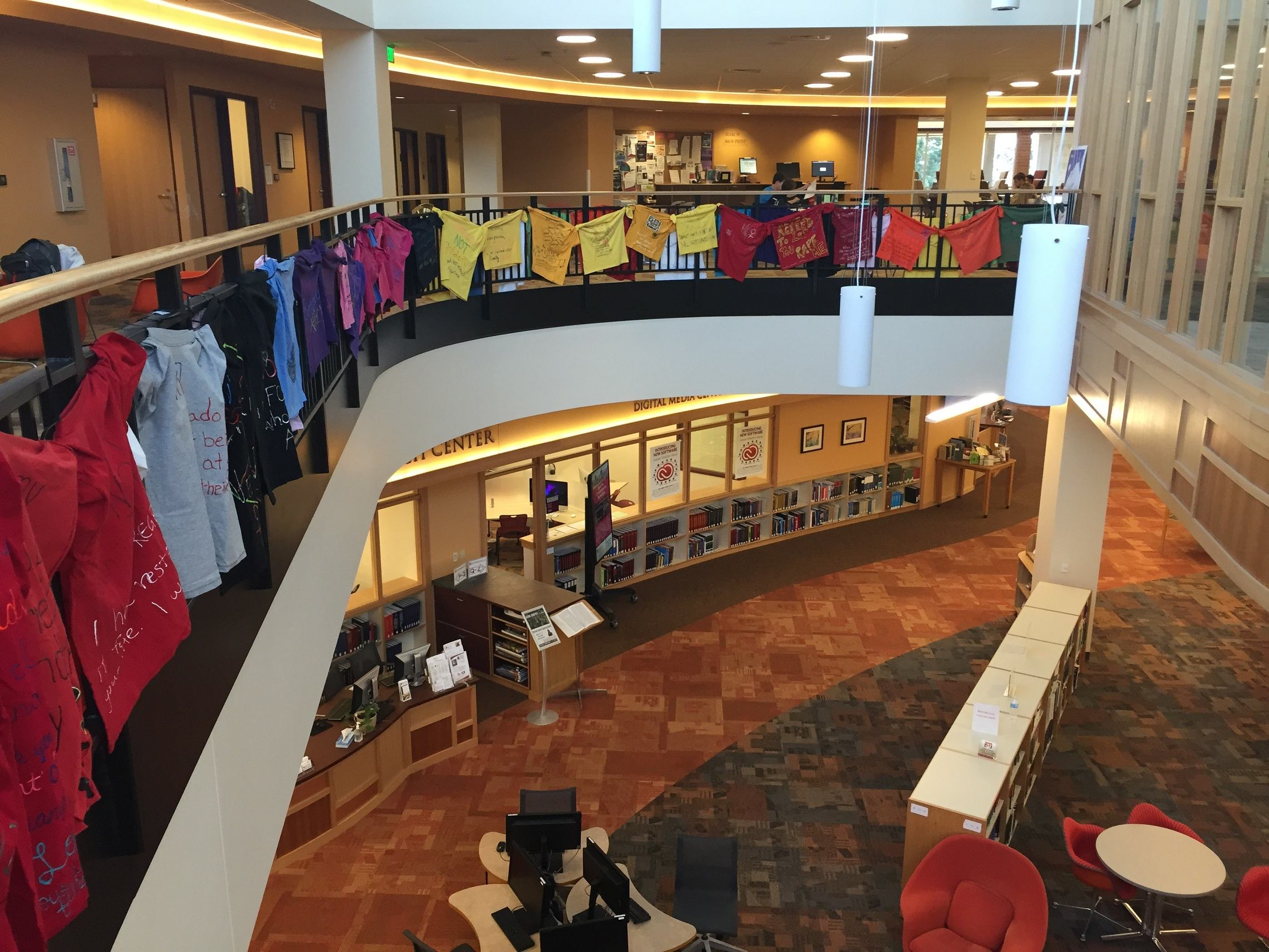 The Clothesline Project displayed in the Anderson Academic Commons. Photo courtesy of Connor W. Davis.