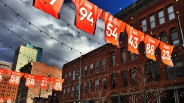 Larimer Street in downtown Denver honors the Broncos. Photo by Jillian Queri