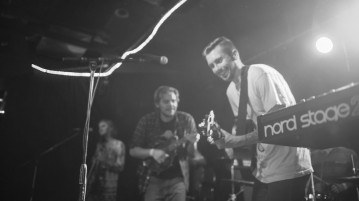 Erik Fellenstein (left) and Nick Anderson (right) play at The Northern Empty's hometown album release show at the Lost Lake Lounge on Jan. 14.  Photo by Gusto Kubiak | Clarion