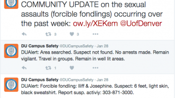 Throughout winter quarter, there have been multiple incidents of forcible fondling.  Photo courtesy of DU Campus Safety.