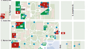 DU has a variety of parking lots, varying from paid hourly parking to underground garages.  Photo courtesy of University of Denver Parking Services.