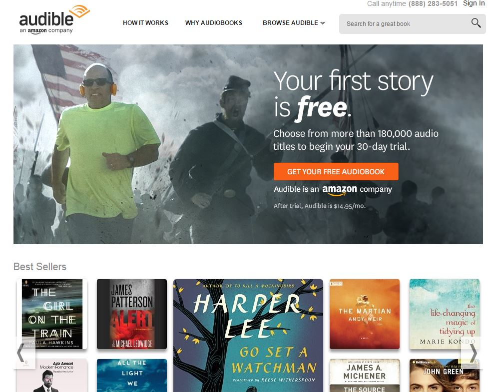 The Audible website.