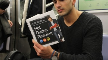 """The Instagram """"Hot Dudes Reading,"""" known for pictures of men reading on the subway, recently released a book to the delight of fans. Photo courtesy of bustle.com."""