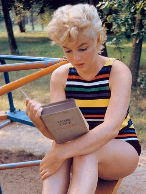 "The iconic picture of Marilyn Monroe reading ""Ulysses"". Photo courtesy of openculture.com"