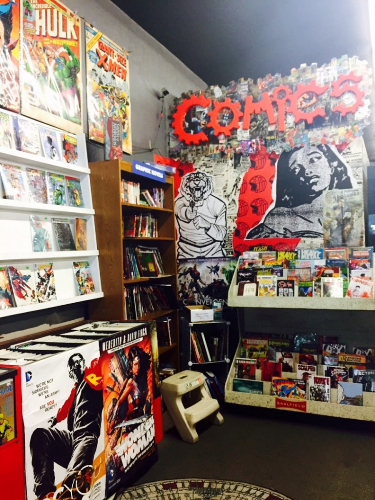 The comics and graphic novels section. Photo by Meg McIntyre.